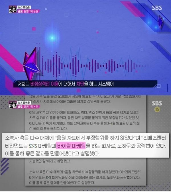 """지난 4월 17일 방송된 SBS <본격연예 한밤>의 한 장면. 이날 방송에서는 닐로 음원 사재기 의혹에 대해 보도했다. 멜론 측은 """"비정상적인 이용은 없었다""""고 입장을 밝혔다"""