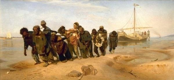 볼가 강의 뱃사람들(일리야 레핀, 1870~1873, 국립 러시아박물관)