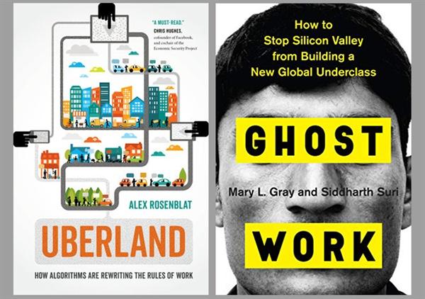우버 등의 플랫폼 사업자들이 어떻게 노동과 사회를 파괴하는지 분석하는 책들이 속속 나오고 있다. 왼쪽부터 <우버랜드>와 <유령노동>.