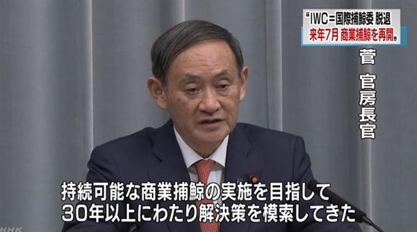 일본 정부 대변인 스가 요시히데 관방장관의 국제포경위원회(IWC) 탈퇴 선언을 보도하는 NHK 뉴스 갈무리.