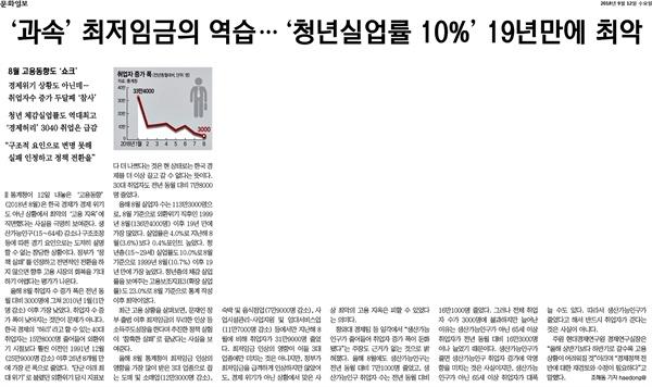 2018년 9월 12일 문화일보 기사