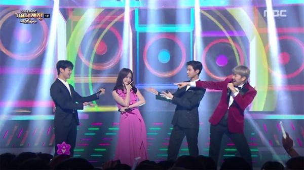 < 2018 MBC 가요대제전 > MC를 맡은 민호-윤아-차은우-노홍철 (방송화면 캡쳐)