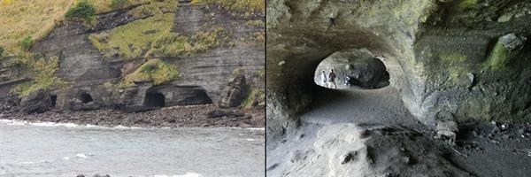 1.제주 송악산 해안 일제 동굴진지 2.동굴진지의 내부 모습