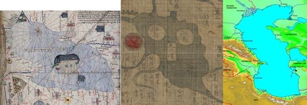카스피해 지도 14세기 유럽지도, 15세기 강리도 및 현대 지도