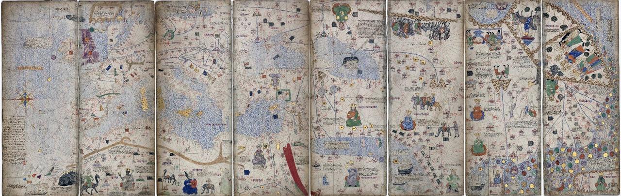 카탈란 세계지도 1375년 유럽 제작