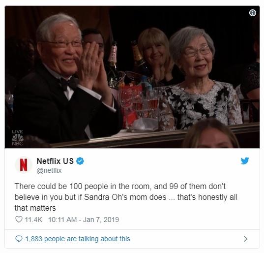 산드라 오 부모의 골든글로브 시상식 참석을 알리는 넷플릭스 공식 트위터 계정 갈무리.