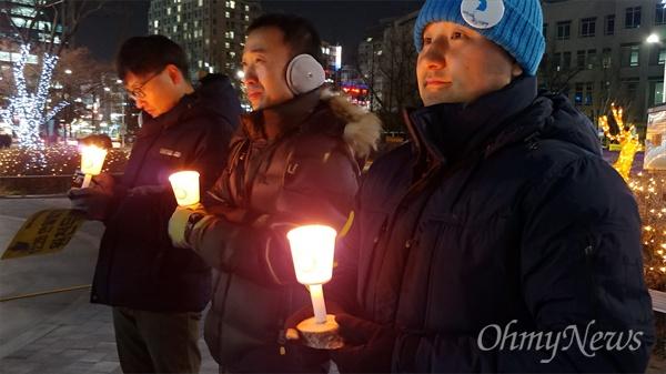 민중당대전시당과 평화나비대전행동은 9일 저녁 대전평화의소녀상 앞에서 2019년 첫 '일본군위안부문제해결, 한반도평화실현 대전수요문화제'를 개최했다.