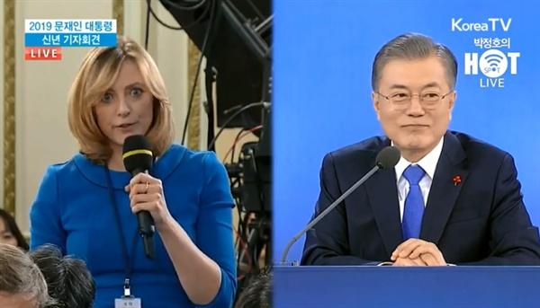 10일 대통령 신년 기자회견, 파란 옷을 입은 <BBC> 기자(왼쪽)는 여성인권 증진과 관련한 조치를 질문했다. 이에 문재인 대통령은 '부끄러운 현실'을 인정한 뒤 차분한 표정으로 답변을 이어갔다.