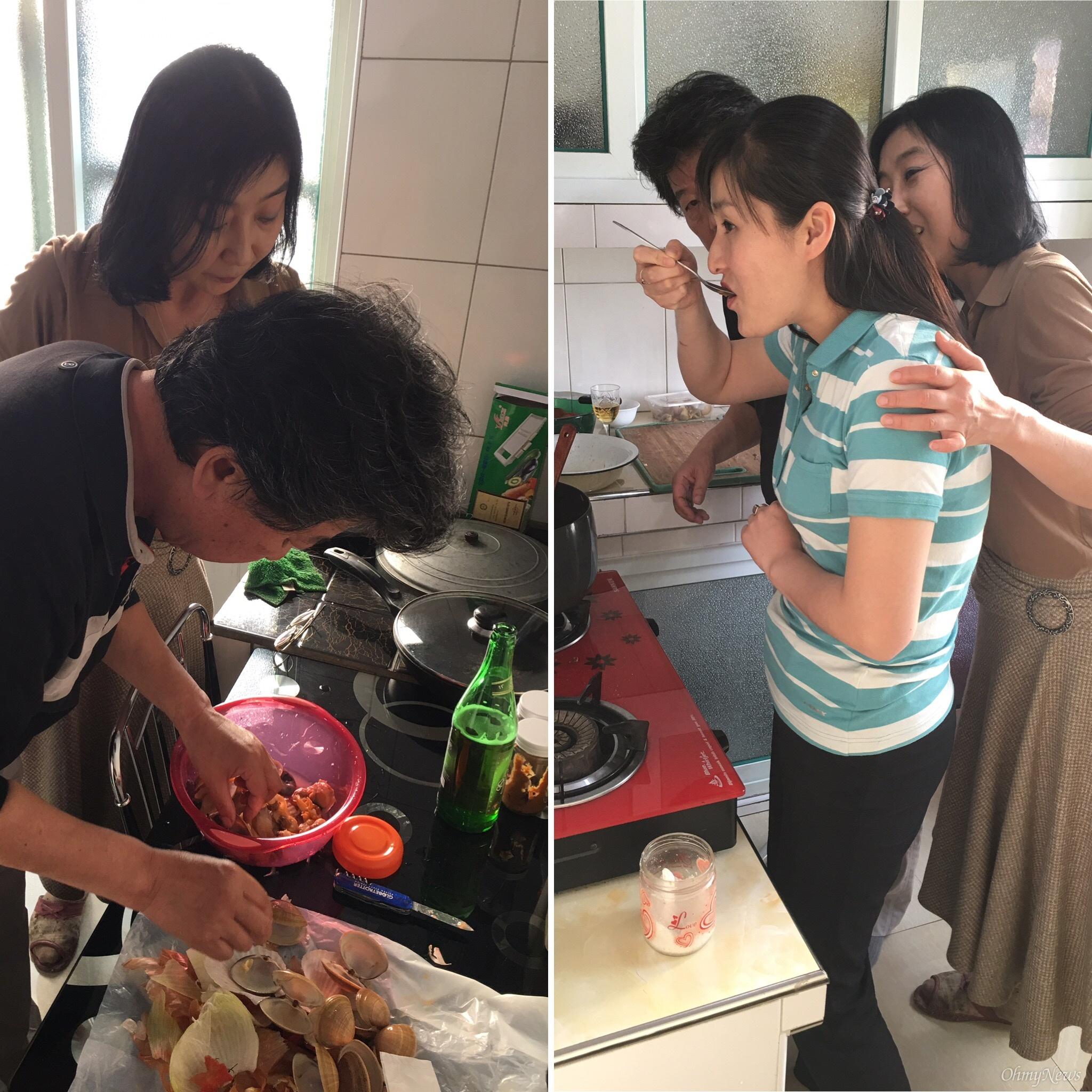 설경이네 아파트 부엌에서 요리를 하는 모습.