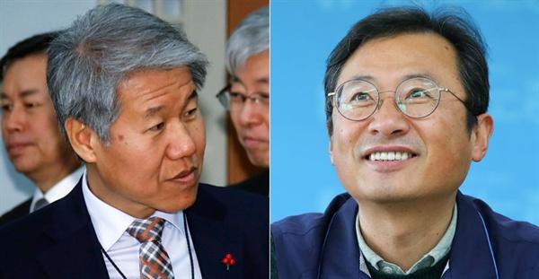 김수현 청와대 정책실장(왼쪽)과 김명환 민주노총 위원장(오른쪽).