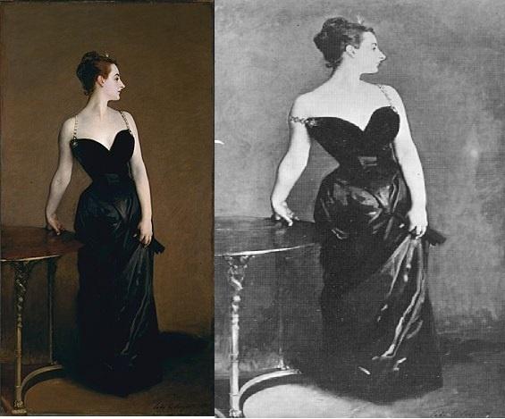 마담X의 초상(존 싱어 사전트,1883-4, 뉴욕 메트로 폴리탄 미술관), 오른쪽은 수정되기전 원본 사진