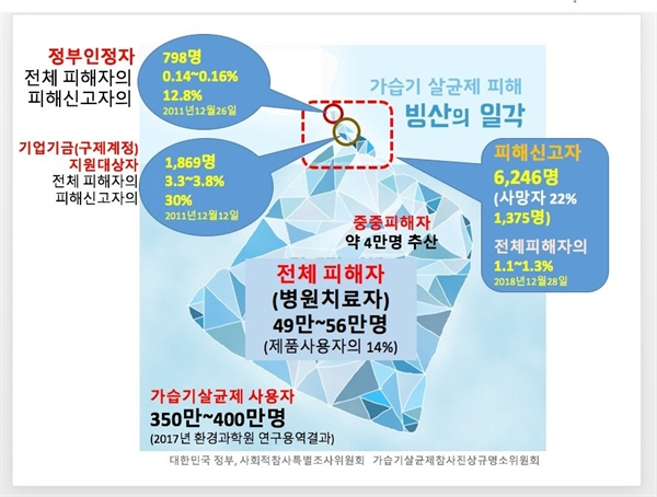 2018년 12월 현재 가습기 살균제 피해 신고자 6246명 가운데 정부에서 인정한 피해자는 798명으로 12.8%에 불과하다.(자료: 환경부, 사회적참사특조위)