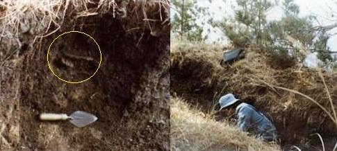 〈사진116〉 고산리 바닷가 참호에서 융기문토기(〈사진112〉)가 나왔다. 동그라미 안을 보면 융기문토기 조각을 볼 수 있다. 〈사진117〉 영남대학교 문화인류학과 대학원생 강창화(현 한국신석기학회장) 씨가 참호를 살펴보고 있다.