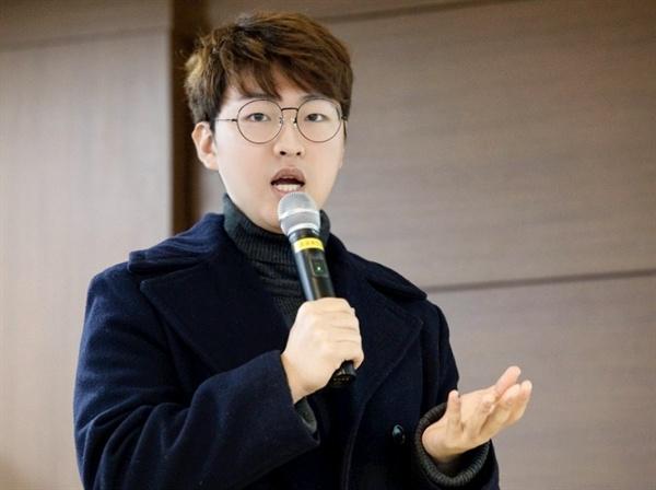 우종혁 바른미래당 서울특별시당 대학생위원장이 발언하고 있다. 우종혁 바른미래당 서울특별시당 대학생위원회 위원장이 발언하고 있다.