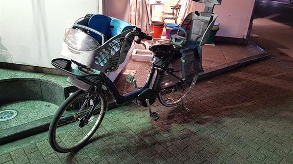 앞뒤로 아이들을 태울 수 있는 전용의자를 설치한 자전거. 전기로 간다.
