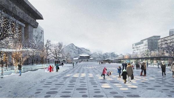 1월 21일 서울시가 공개한 새로운 광화문광장(작품명: Deep Surface, 부제: 과거와 미래를 깨우다)의 조감도.