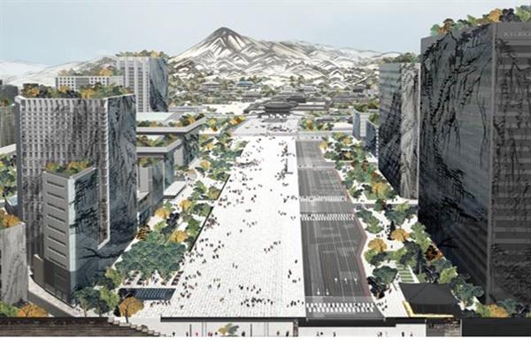 1월 21일 서울시가 공개한 새로운 광화문광장(작품명: Deep Surface, 부제: 과거와 미래를 깨우다)의 조감도
