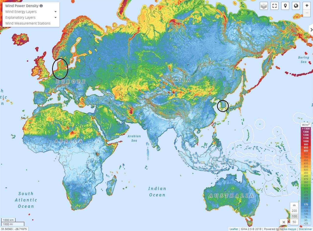 세계 풍력 자원 지도 독일이나 덴마크는 북해에서 불어오는 바람 덕분에 우리나라보다 풍력 자원이 훨씬 풍부하다. (출처: https://globalwindatlas.info)