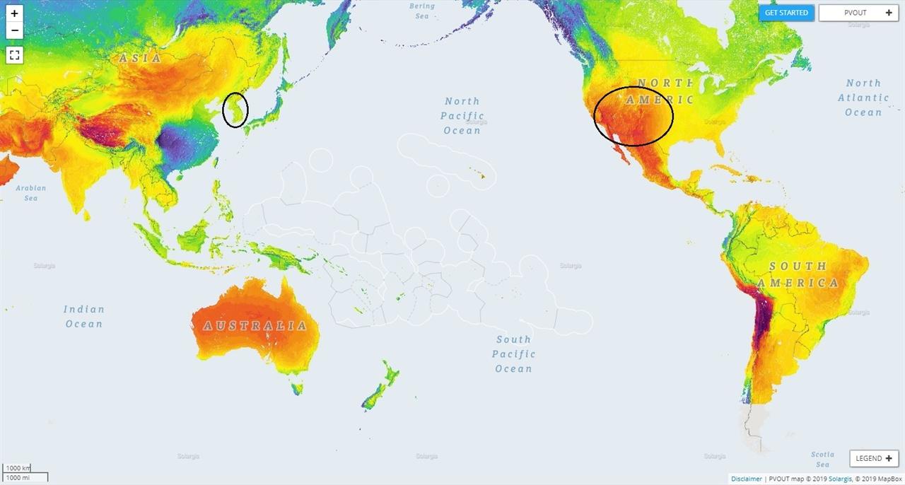 세계 태양광 자원 지도 미국 남서부 사막 지역은 우리나라보다 태양광 자원이 훨씬 풍부하다. (출처: https://globalsolaratlas.info)