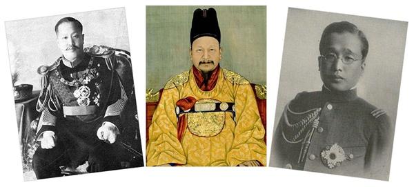 고종(가운데)과 그의 아들 순종(왼쪽),영친왕 이은(오른쪽). 덕혜옹주는 고종의 고명딸이었다.