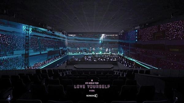 방탄소년단의 콘서트 영화 < 러브 유어셀프 인 서울 >은 영화관 내 3면을 활용하는 '스크린X' 형식으로도 개봉되었다.