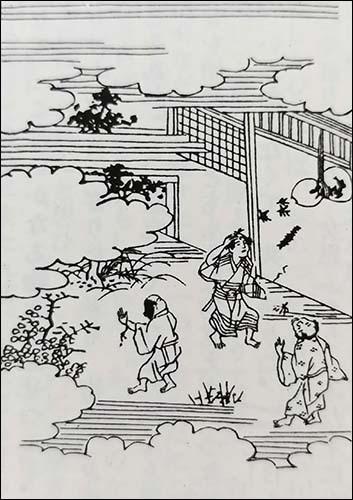 '참새가 은혜 갚은 이야기 제3권 제16화 '참새가 은혜 갚은 이야기'. 이 그림은 일본고전문학전집에 수록된 그림이다.