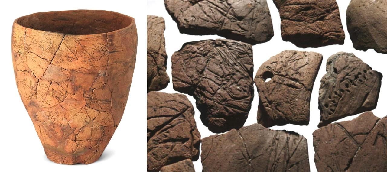 〈사진128〉 제주 고산리식토기. 높이 25.6cm. 보는 바와 같이 우리 신석기 그릇은 밑굽이 세모형이 아니라 이렇게 평평한 그릇에서부터 시작됐다. 〈사진129〉 고산리식토기 조각.