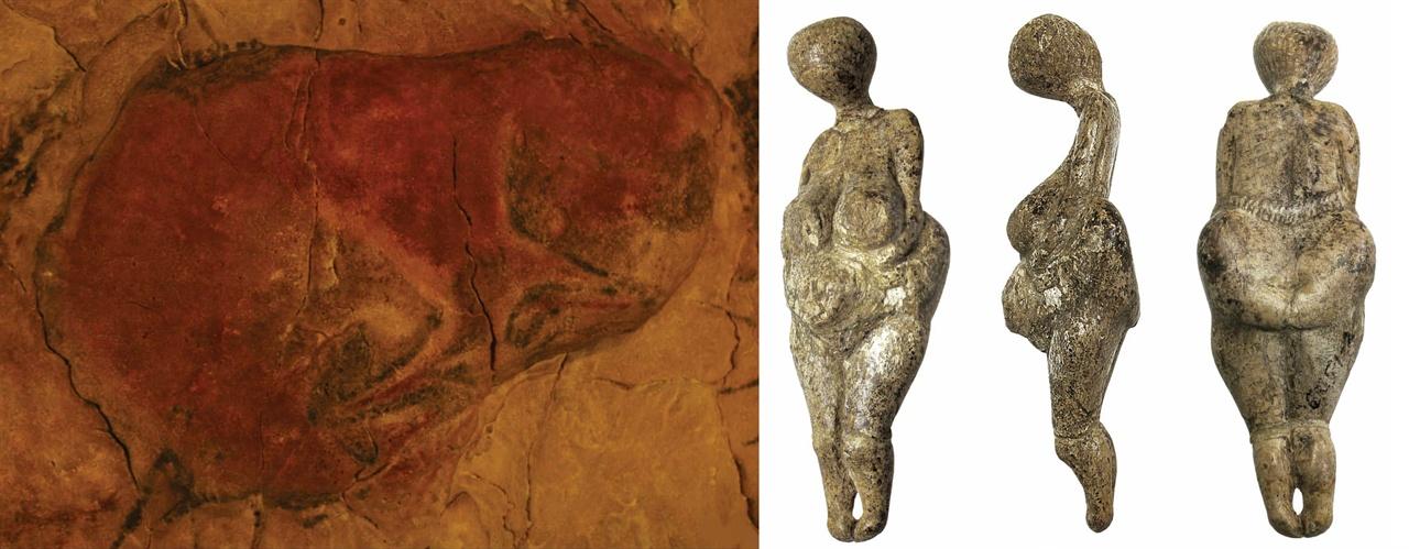 〈사진136〉 스페인 알타미라 석회암 동굴의 상처 입은 들소. 기원전 13000년 전. 〈사진137〉 코스텐키 비너스. 1988년 러시아 돈 강 코스텐키(kostenki) 구석기 유적지에서 나온 비너스다. 구석기 솔류트레기(기원전 25,000∼20,000년).