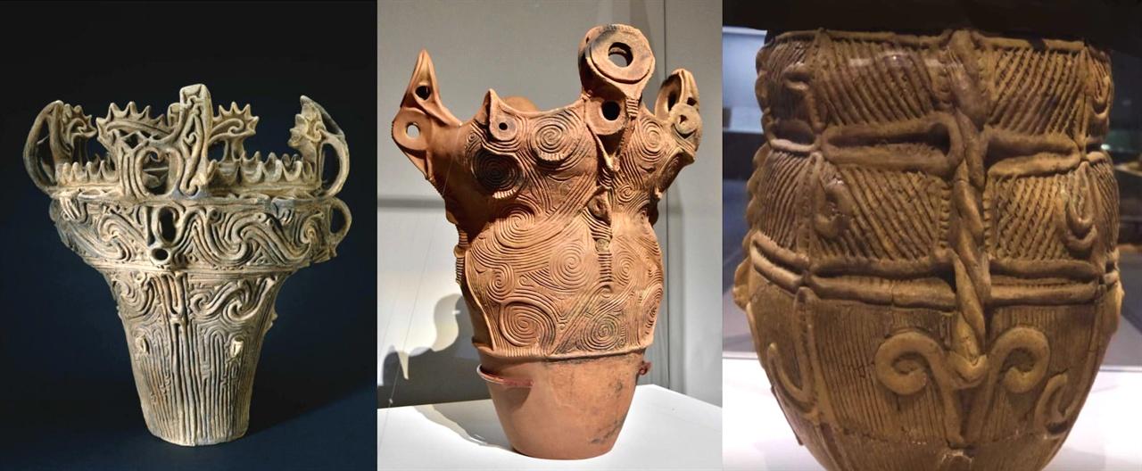 〈사진138〉 일본 신석기 조몬 중기 기원전 3000년 무렵 토기. 〈사진139〉 조몬 중기 기원전 2500년 무렵 토기. 〈사진140〉 조몬 후기 기원전 2000년 무렵 토기. 몸통 가운데 새끼줄 무늬가 있고, 매듭을 지은 것도 보인다. 일본 고고학계는 이 새끼줄과 매듭의 의미를 아직 풀어내지 못하고 있다. 이 줄과 매듭에 대해서는 다음 글에서 자세히 밝힐 것이다.