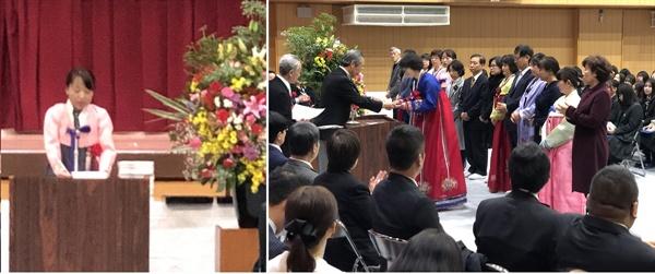 한복을 입고 졸업식에 참석한 학부모님들입니다.