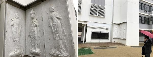오사카 건국학교에 전시된 경주 석굴암 보살상입니다.