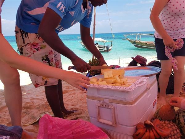 소형 텐드(파라솔) 안의 손놀림  잔지바르 현지의 여행 가이드 청년의 도움으로 시원한 파라솔 안에서 파인애플, 코코넛, 아프리카 바나나, 수박 등의 다양한 남도 과일을 맛볼 수 있었다.