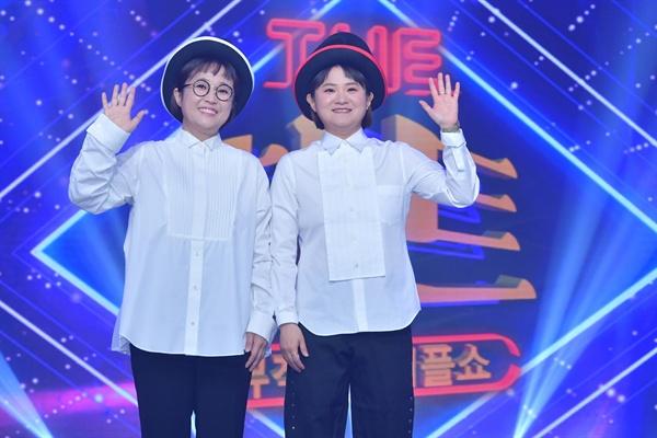 7일 KBS 2TV 새 예능프로그램 <뮤직셔플쇼 더 히트> 기자간담회에 참석한 MC 송은이, 김신영.