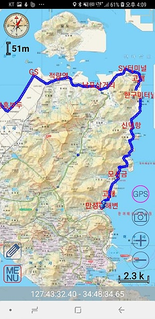 서울시청OB산악회원들이 걸었던 길이 표시된 지도로 바다 한 가운데 묘도가 보인다