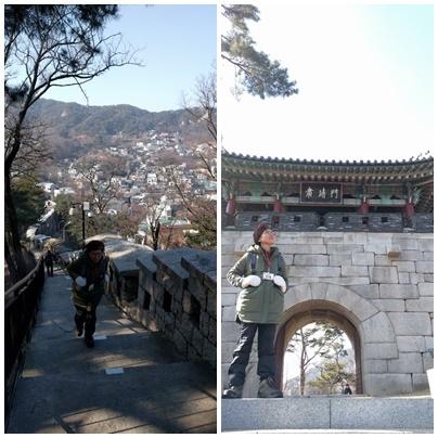 내가 좋아하는 서울 성곽길  좋아하는 서울성곽길을 나는 음력 섣달그믐날 걸었다. 특히 가파른 계단을 올라 백악마루까지 오르는 길이 좋다. 비온 다음날이라 서울시내가 잘 내려다 보였다. 백악마루를 지나 숙정문 앞에 섰다. 서울의 4대문 중, 이름이 바뀐 북대문이 숙정문이다. 원래 4대문 이름엔 인,의,예,지가 하나씩 들어가게 돼있었다. 북문은 홍지문이 될 거였다. 지(智)는 시비지심(是非之心). 당시 정치인들은 백성들이 정치의 시비를 구별하게 똑똑해 지는 걸 원치 않았다. 그래서 지자 대신 개혁과 정화라는 뜻의 숙정을 썼다. 숙정문 앞에 서면 나는 사라진 지(智)자를 생각하고, 여자가 똑똑해지는 걸 싫어하는 가부장제를 생각하곤 한다.