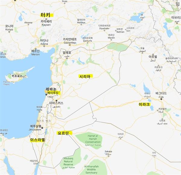 구글 지도에서 찾아본 레바논 베이루트.