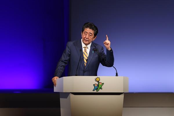 지난 10일 아베 신조 총리가 자민당 행사에서 발언하고 있는 모습.