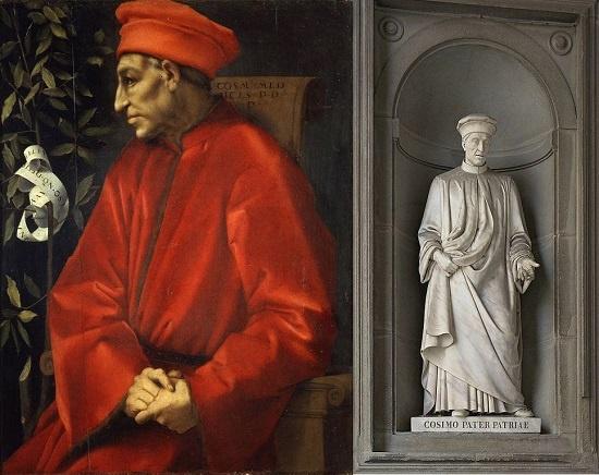 1518~1520년경 폰토르모가 그린 코시모 데 메디치의 초상(왼쪽)과 우피치 광장의 코시모 입상.