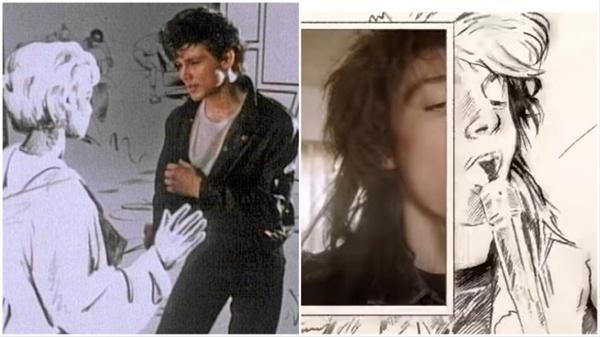 만화 속 세계로 들어가는 여자 주인공을 그린 아하의 'Take on me' 뮤직비디오(좌), 우측은 위저의 'Take on me' 뮤직비디오다.