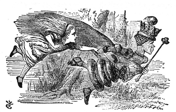 ▲ 루이스 캐럴의 <거울 나라의 엘리스>에서 제 자리를 지키기 위해 끊임없이 달리는 붉은 여왕. ⓒ 북폴리오