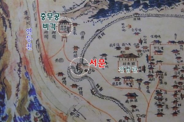 전라좌수영 지도  1847년 발간한 <호좌수영지>의  '전라좌수영 지도' 에 나타난 충무공비각의 당시 위치