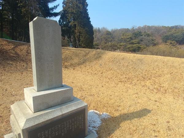 친일파 이응준의 묘. 사진 속 우측에 애국지사들의 묘가 위치해 있다.