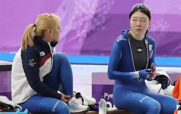 평창동계올림픽 당시 김보름(왼쪽)과 노선영
