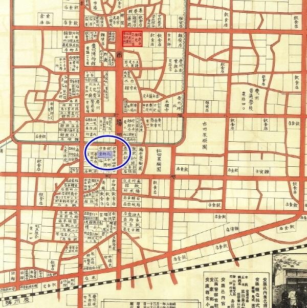 1931년 경주읍내시가약지도.둥근선으로 표시된 곳이 현재 제일교회가 있는 곳이다.
