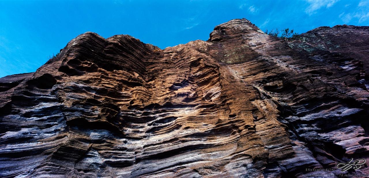 용머리 해안(1) (SW612/Ektar100)응회암층을 올려다 본 모습.