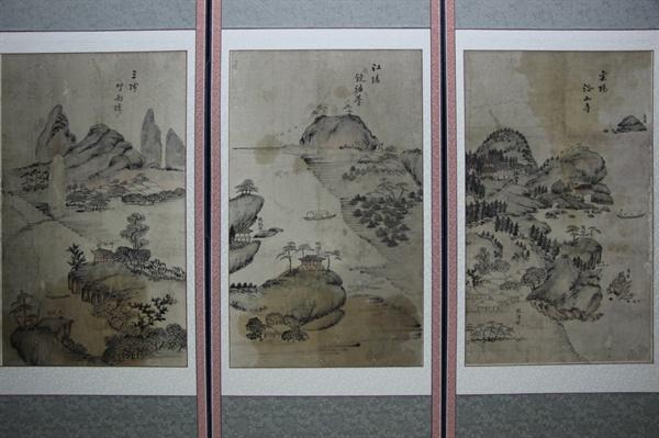 관동팔경도: 양양 낙산사(오르녹), 삼척 죽서루(왼쪽)