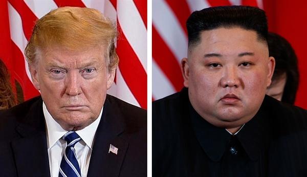 """제2차 북미정상회담 이튿날인 28일(현지시간) 도널드 트럼프(왼쪽) 미국 대통령과 김정은(오른쪽) 북한 국무위원장이 베트남 하노이의 소피텔 레전드 메트로폴 호텔에서 회담 도중 심각한 표정을 하고 있다. 백악관은 예정보다 일찍 종료된 2차 북미 정상회담과 관련, """"현 시점에서 아무런 합의에 도달하지 못했다""""고 밝혔다."""
