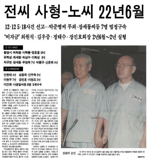 전두환-노태우의 재판 소식을 전하는 당시 언론(1996. 8. 27) 광주학살의 주범 전두환-노태우는 1995년 김영삼 대통령 시절 구속되어 재판을 받았다.
