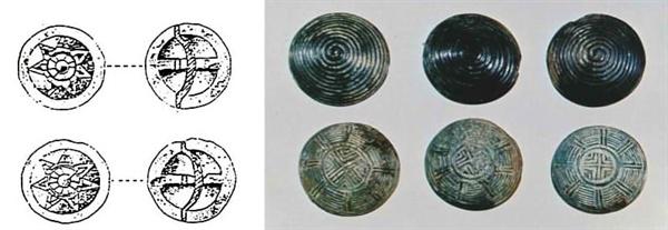 〈사진149〉 중국 은허 M202호 묘에서 나온 칠각성문 청동단추. 은허는 중국 허난성(河南省) 안양현(安陽縣) 샤오툰촌(小屯村)에 있는 고대 상(商)나라 수도다. 〈사진150〉 청동단추. 경상북도 영천 어은동유적(지금의 영천시 금호읍)에서 나왔다. 지름 2.5㎝ 안팎. 이곳 유적은 1세기 청동기·철기시대 유적으로 알려져 있다.