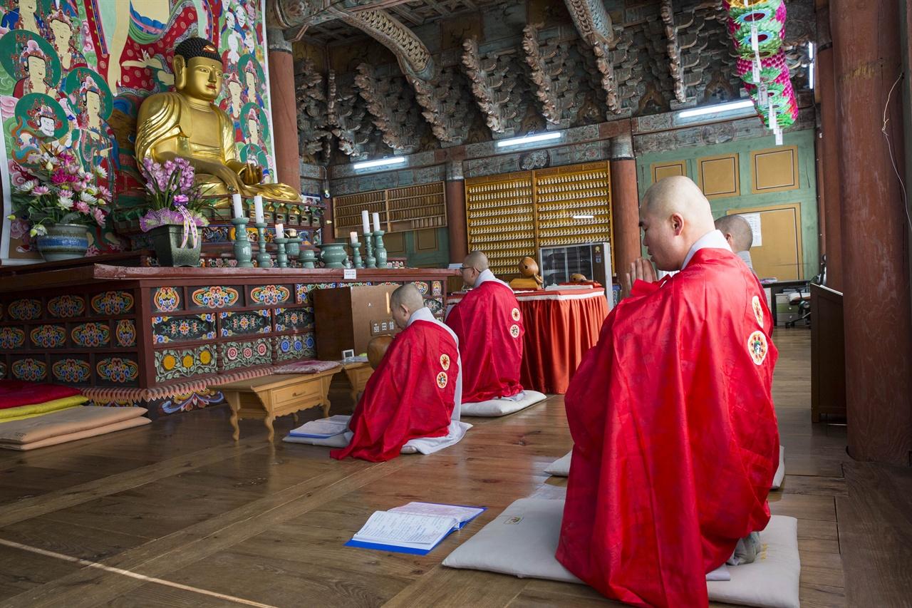 예불 장면     선암사 스님들이 예불을 드리는 모습